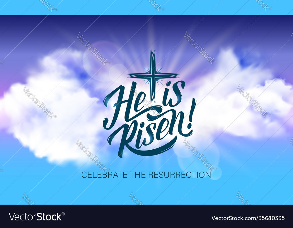 Easter poster with he is risen lettering