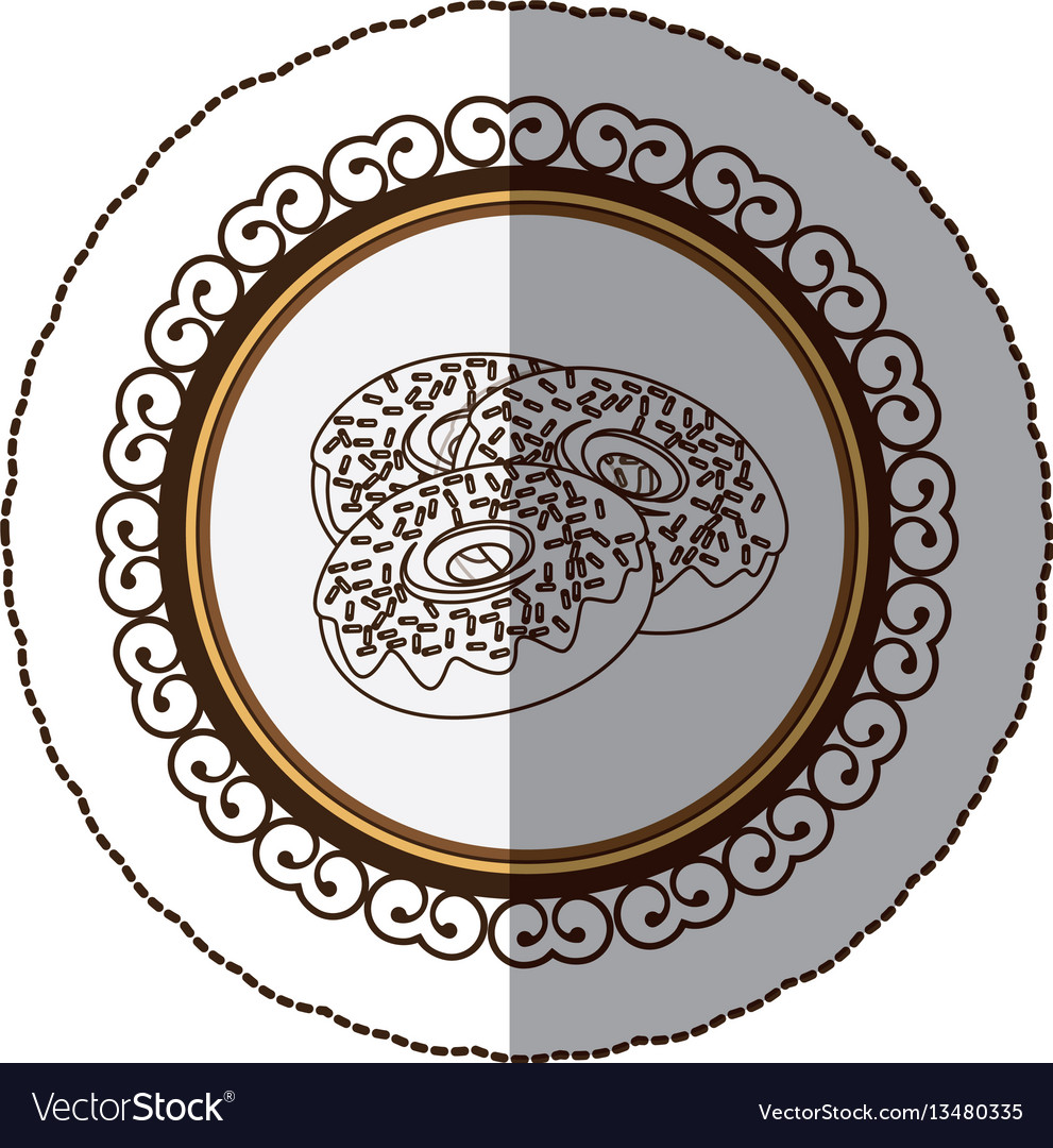 Emblem color chocolate donuts icon vector image