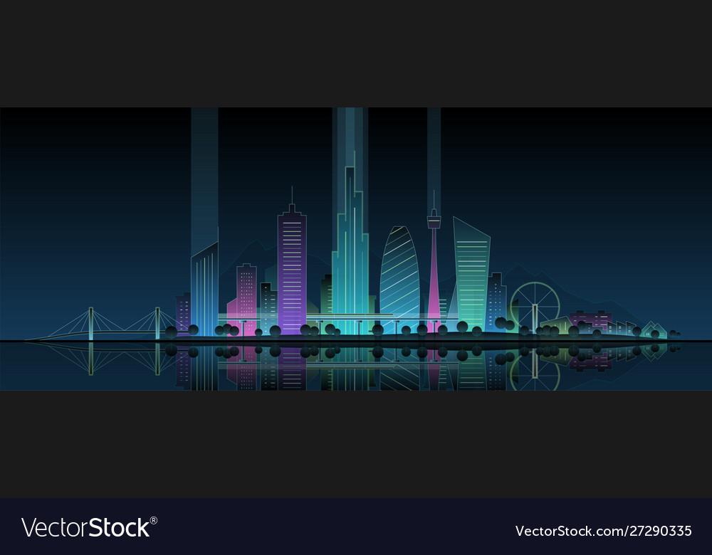 Futuristic neon cityscape modern