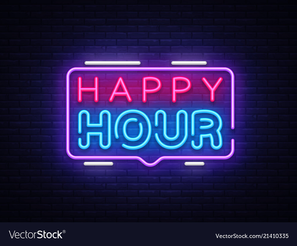 Happy hour neon sign design template happy Vector Image