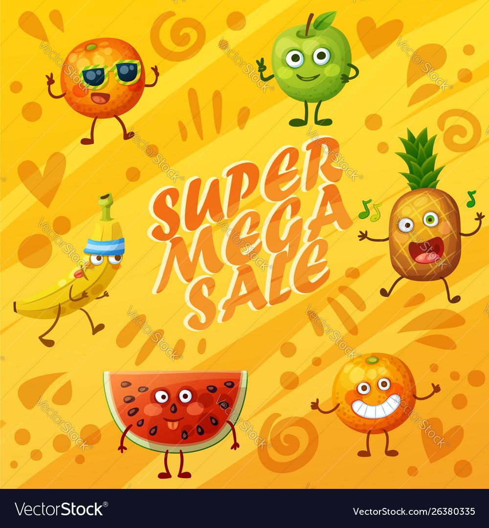 Orange background with fruit characters food emoji