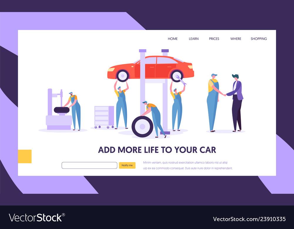 People character in uniform repair car at service
