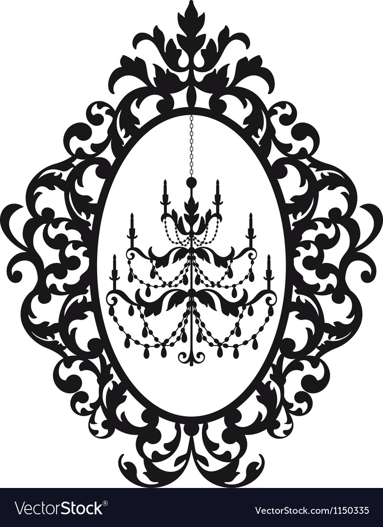 Picture frame with antique chandelier royalty free vector picture frame with antique chandelier vector image aloadofball Image collections