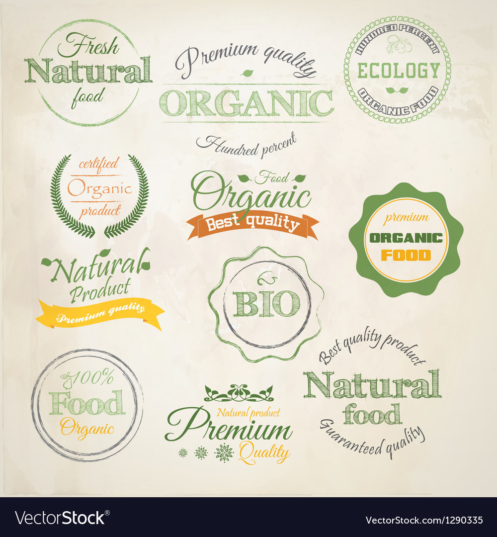 Retro styled organic labels vector image