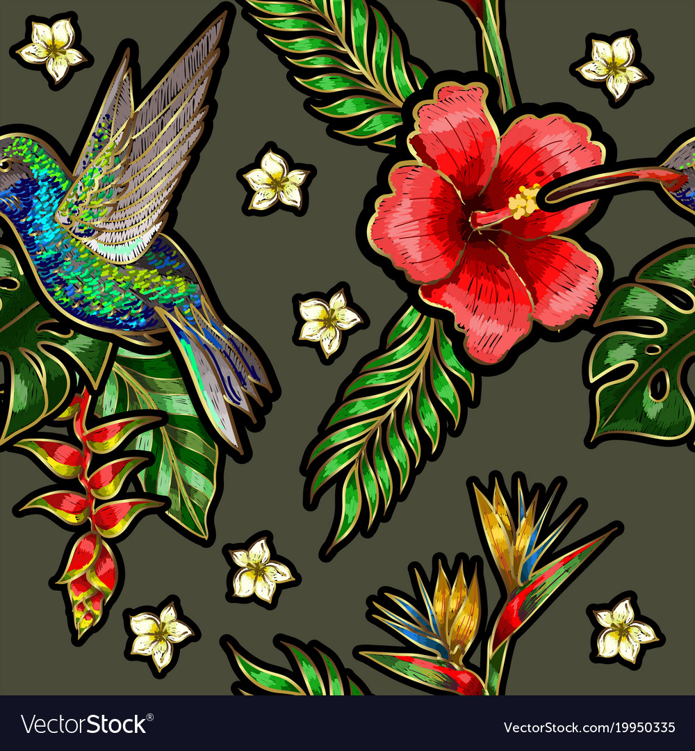 Seamless pattern with humming bird hibiscus