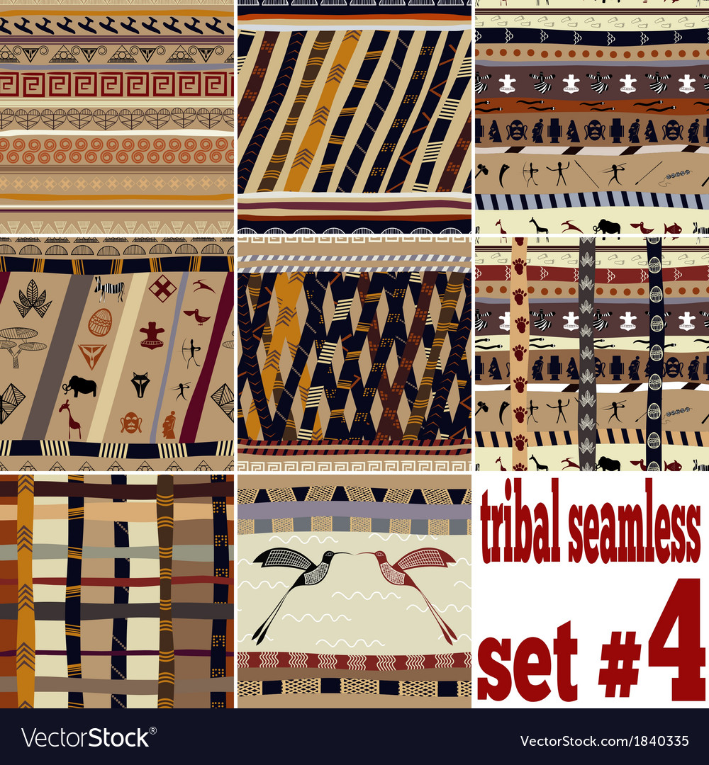 Seamless set of traditional patterns vector image