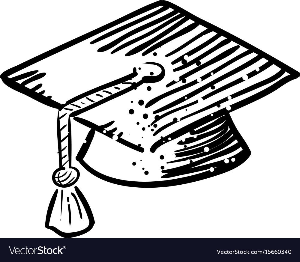 Cartoon image of graduation cap icon education