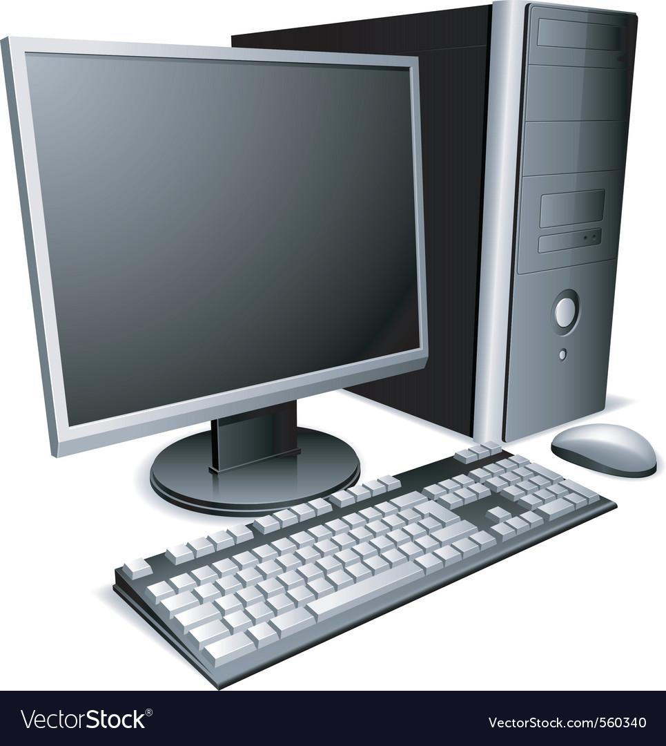 Desktop Computer Royalty Free Vector Image Vectorstock
