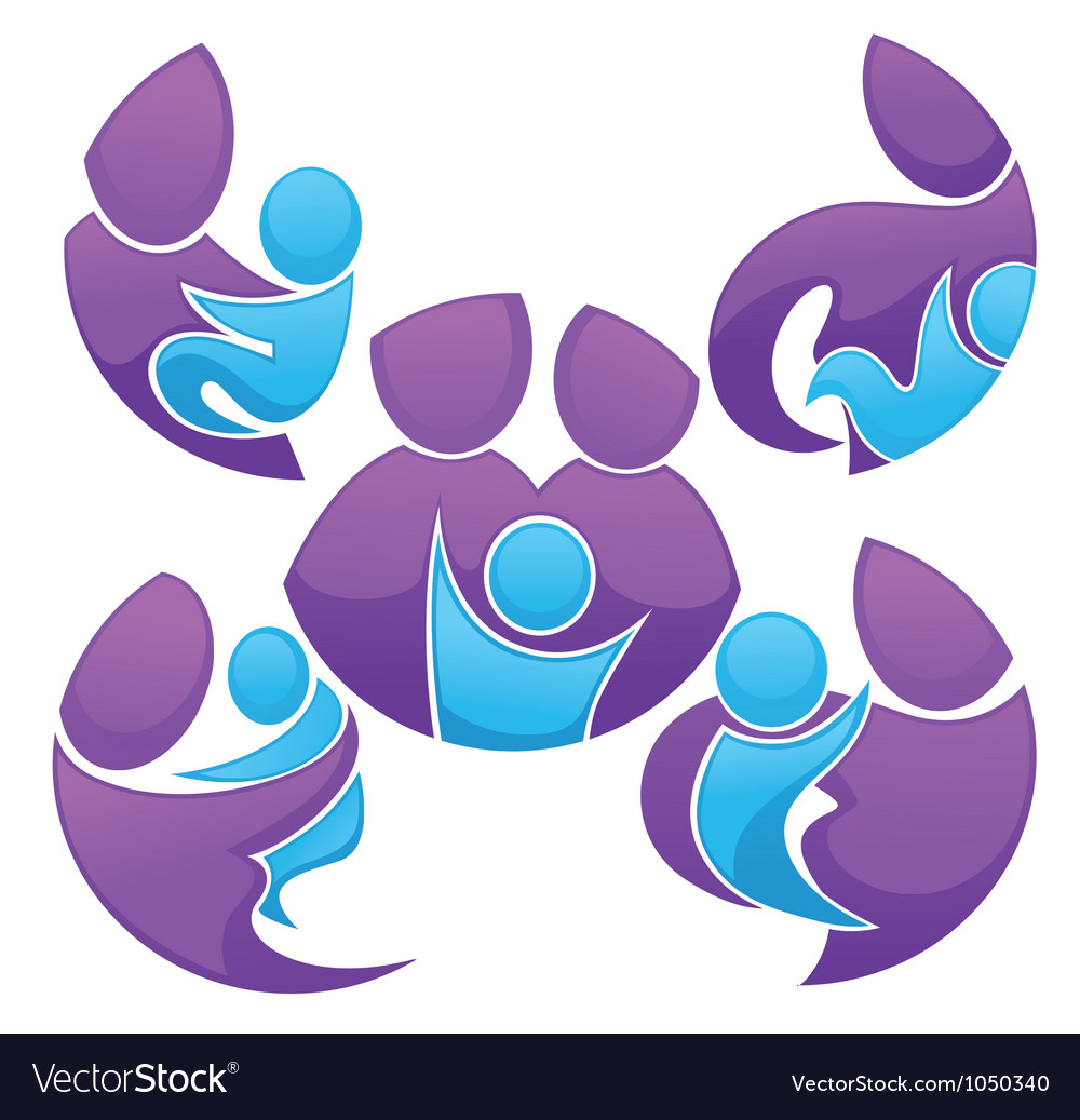 Family stickers and forms vector image