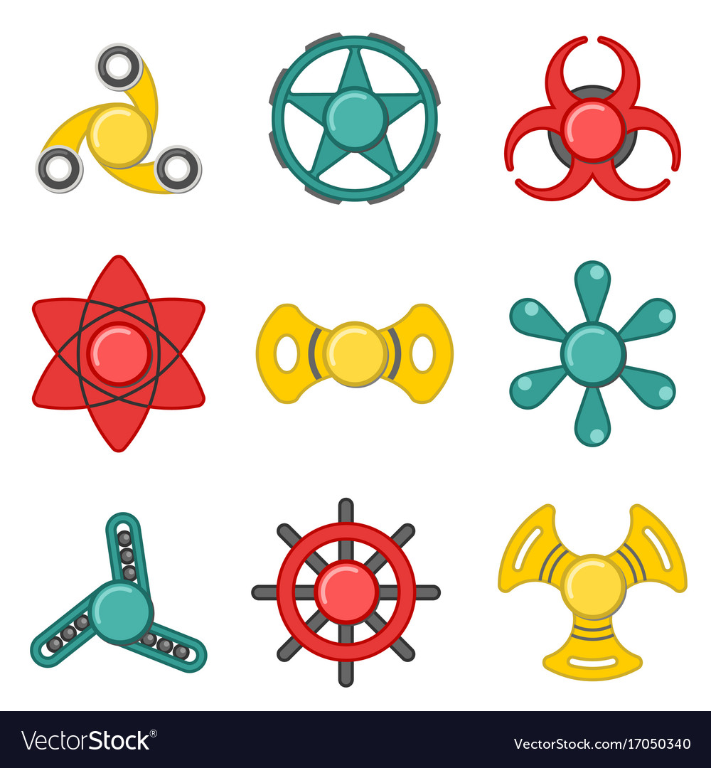 Hand fidget spinner extra colorful icon set