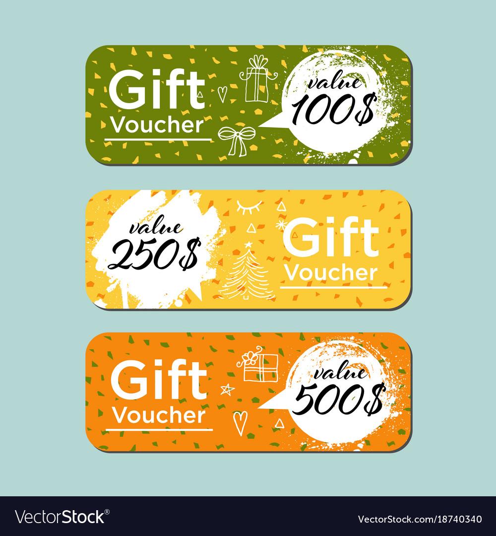 Modern brush gift voucher template for