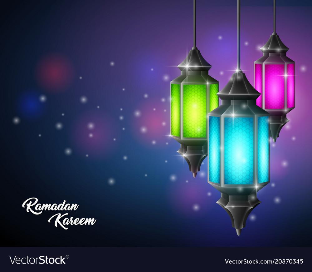 Beautiful ramadan kareem with arabic lamp hanging