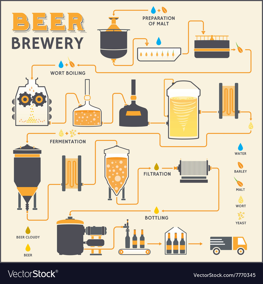 Diagram Of Making Beer Wire Data Tv Ph19d Led Power Supply Smps Schematic Circuit Brewing Process Brewery Factory Production Vector Image Rh Vectorstock Com Cask