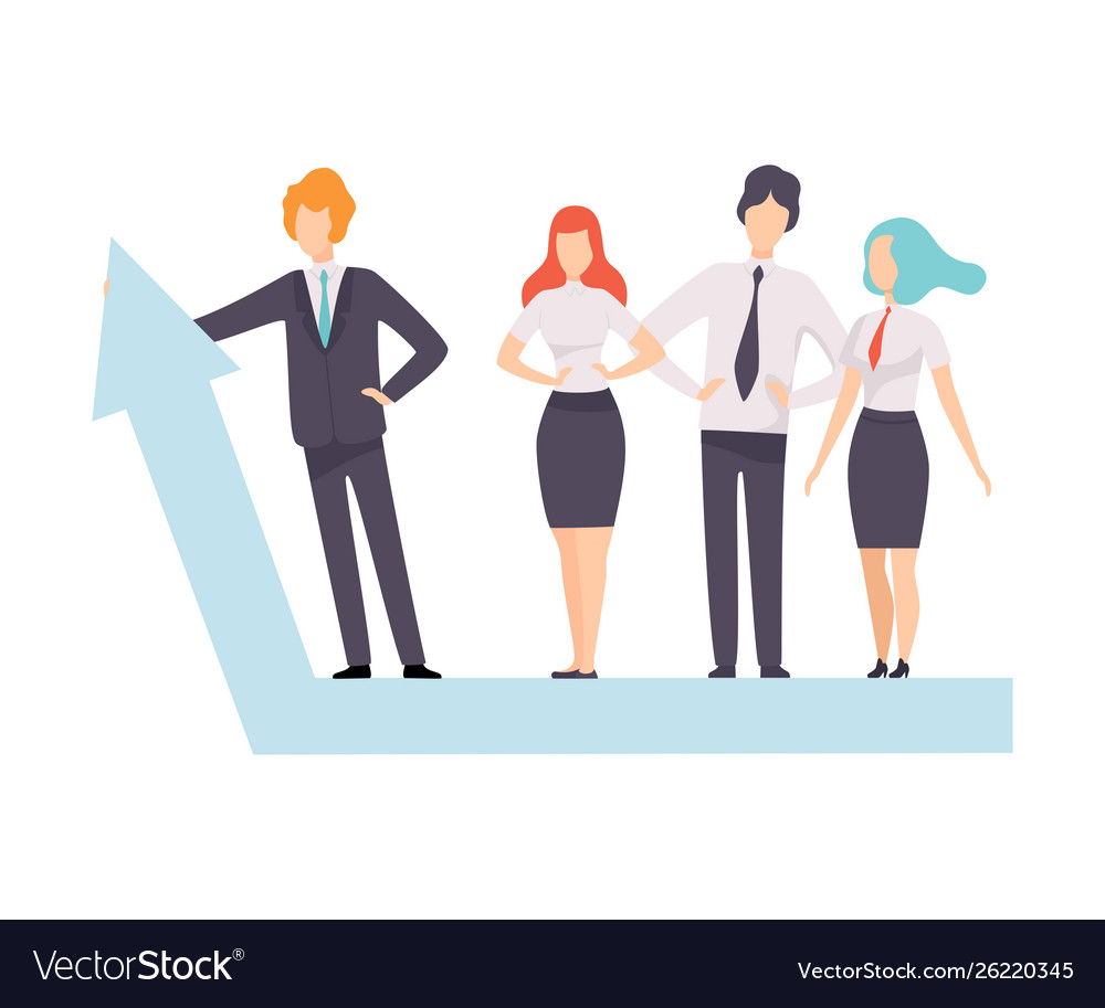 Business people standing on growth arrow graph