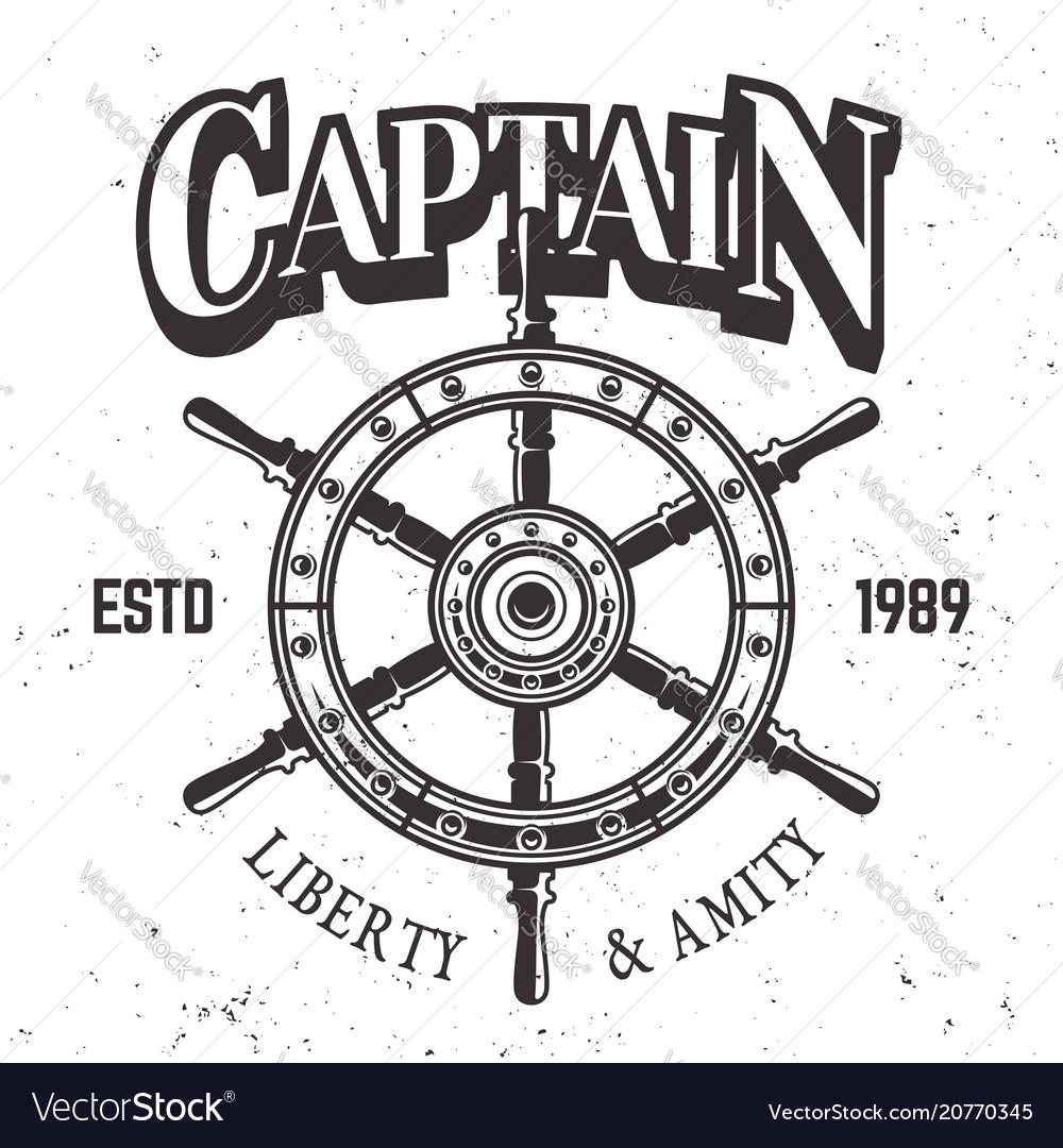 Captain ship wheel vintage label emblem or print