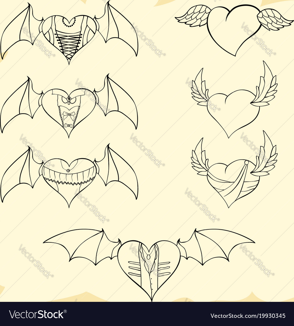 Contoured valentine hearts with wings