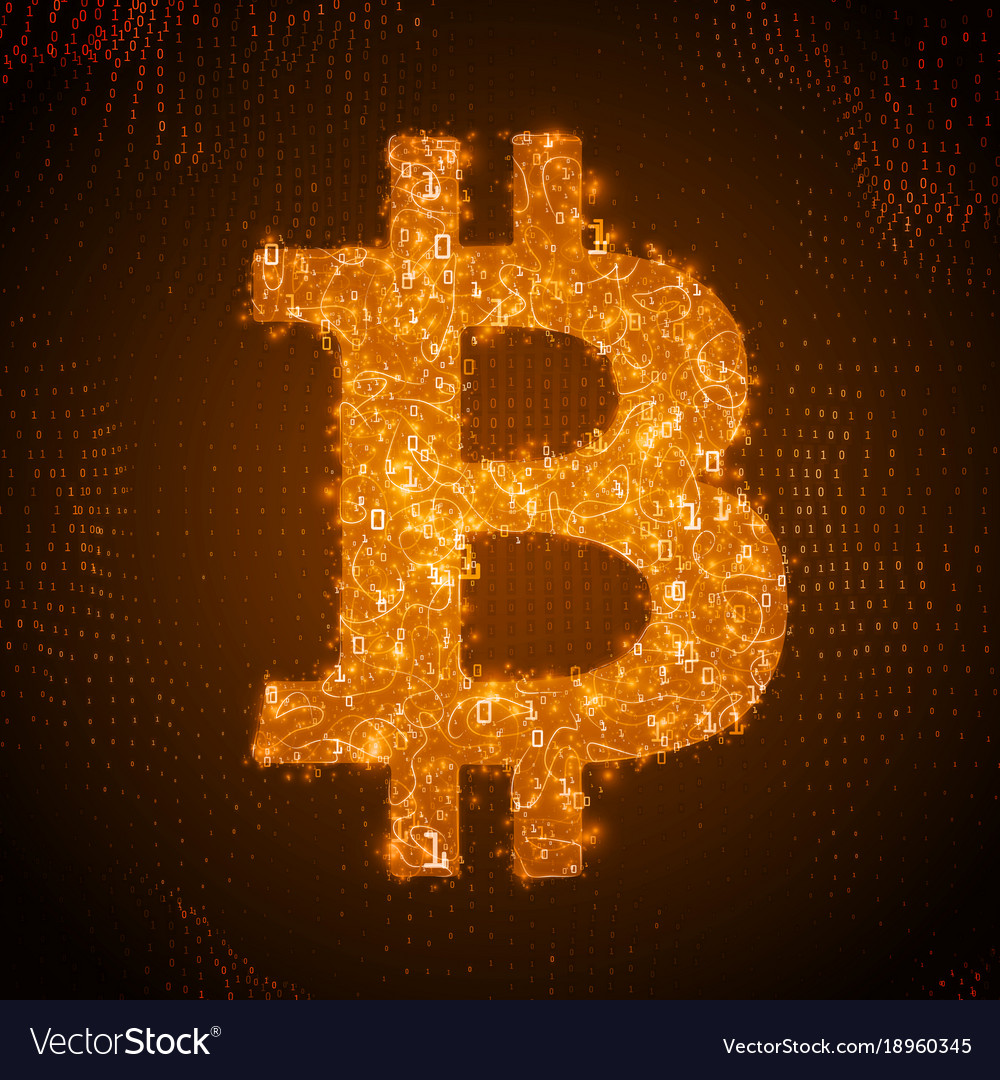 Golden bitcoin symbol constructed with