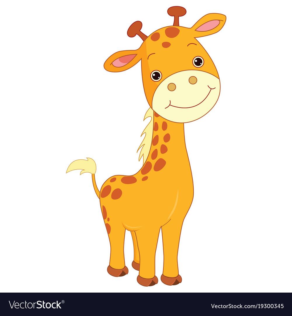 Happy cartoon giraffe vector image