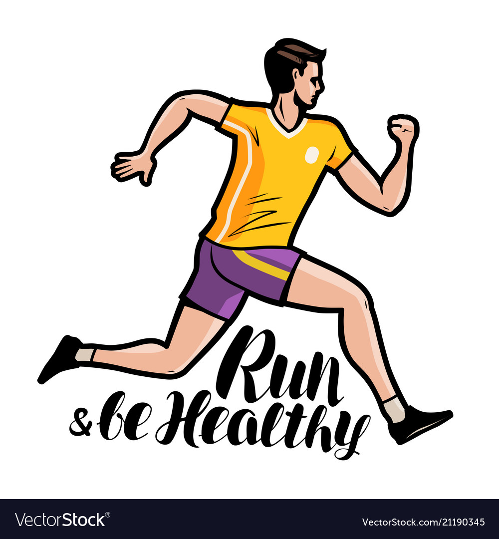 Jogging running run and be healthy lettering
