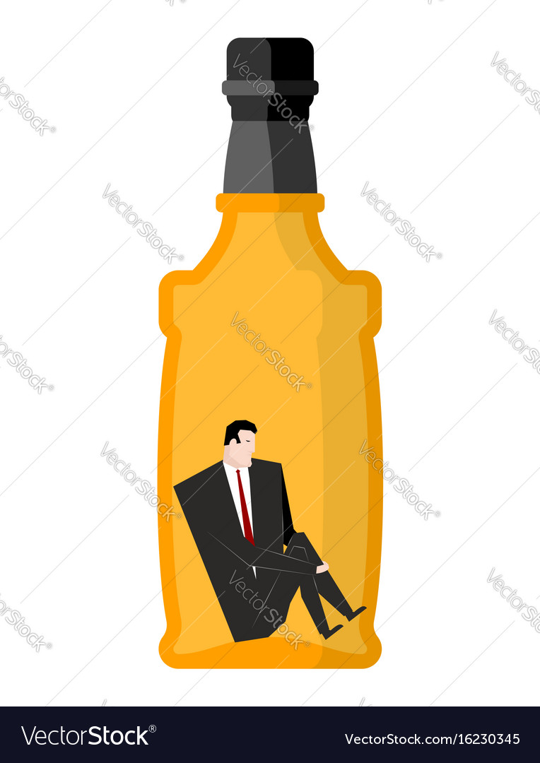 Man drinker inside bottles businessman sitting in