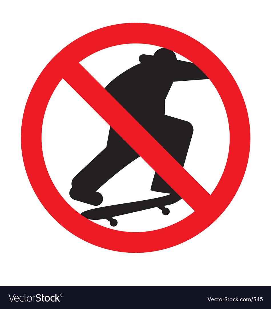 No skateboarding sign vector image