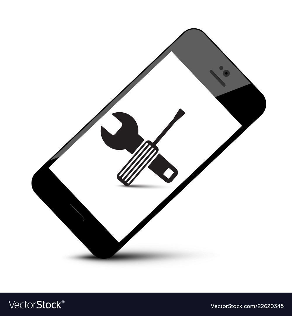 Repair tools symbol on mobile phone icon