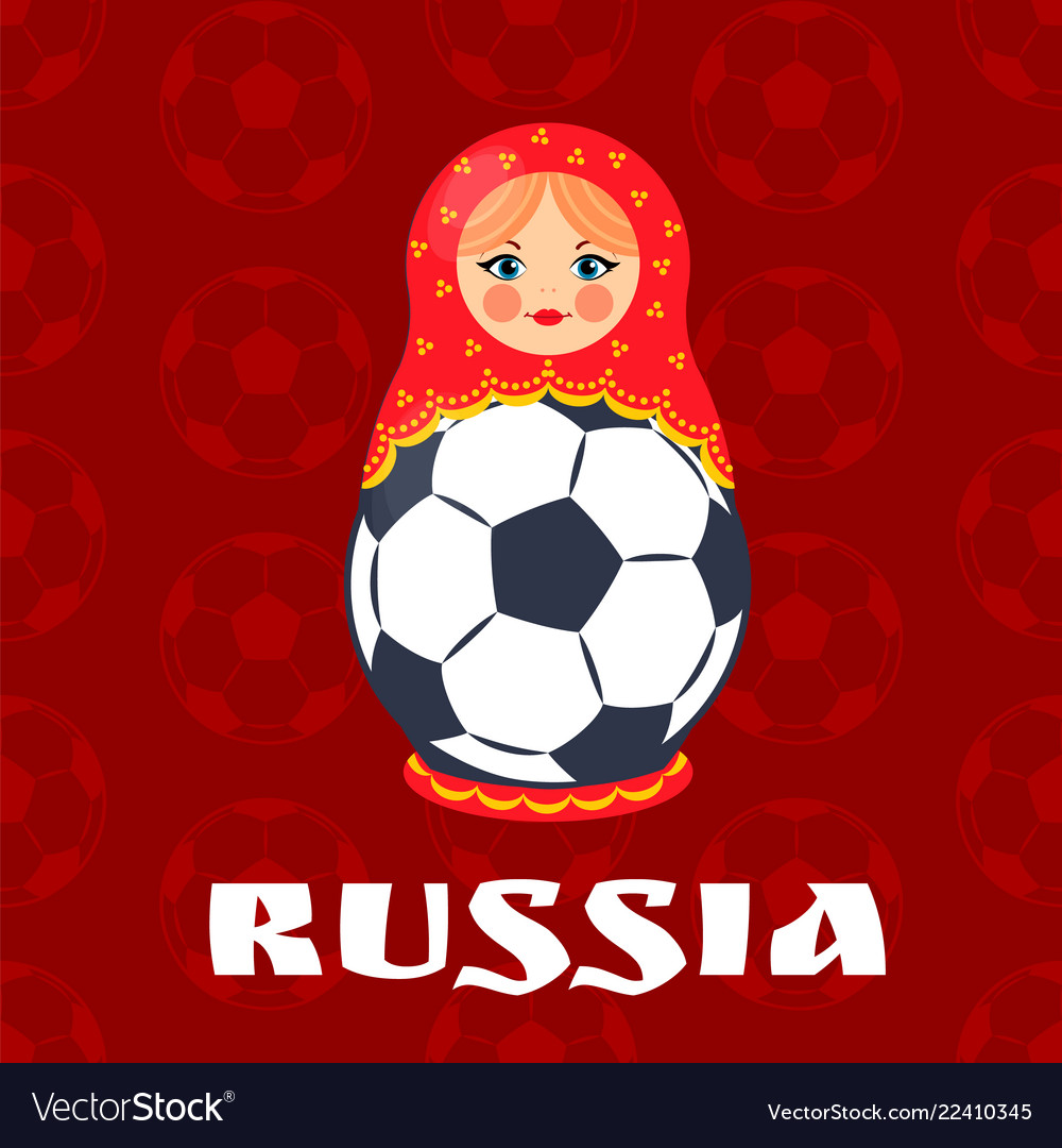 Russia football symbol isolated on red backdrop