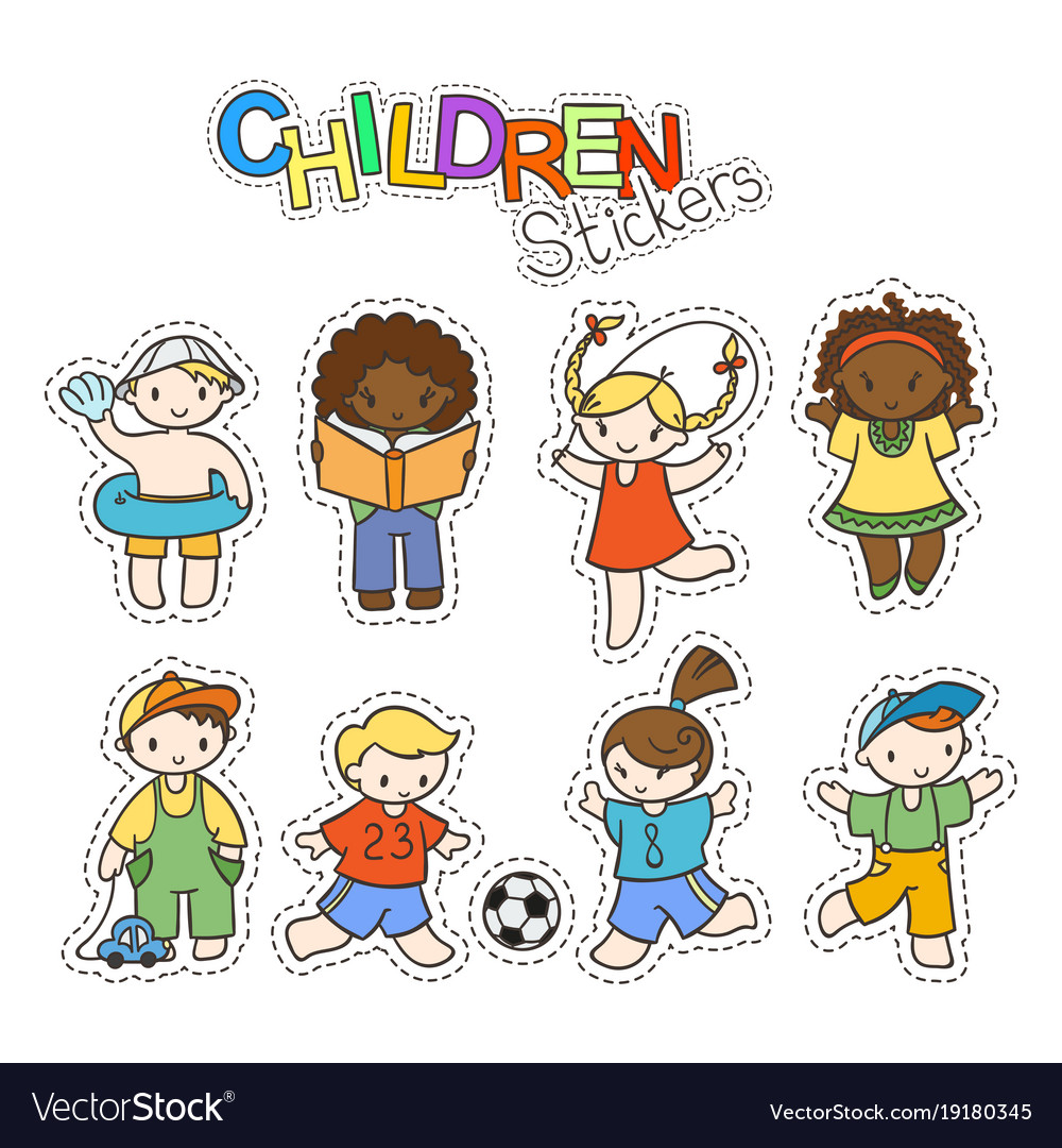 Set of cute doodle children in stickers