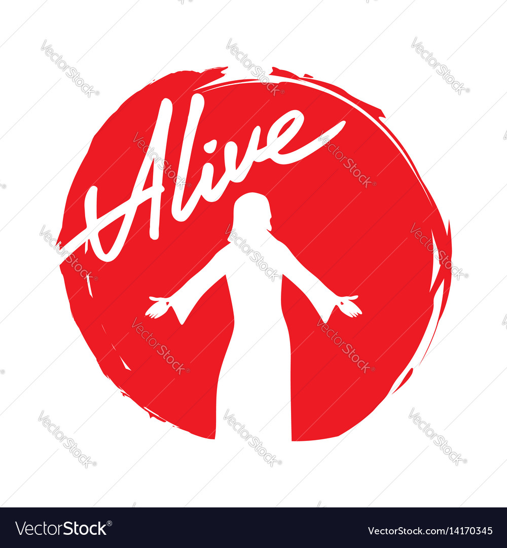 Silhouette of jesus of the resurrected vector image