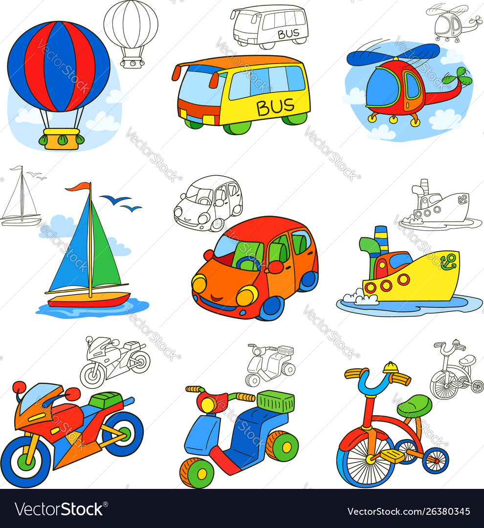 Transport vehicles cartoon coloring book page