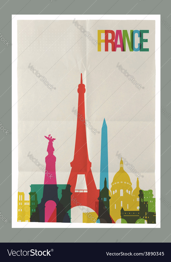 Travel France landmarks skyline vintage poster