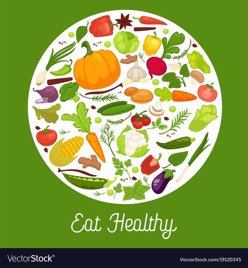 Vegetables healthy food poster of organic veggie