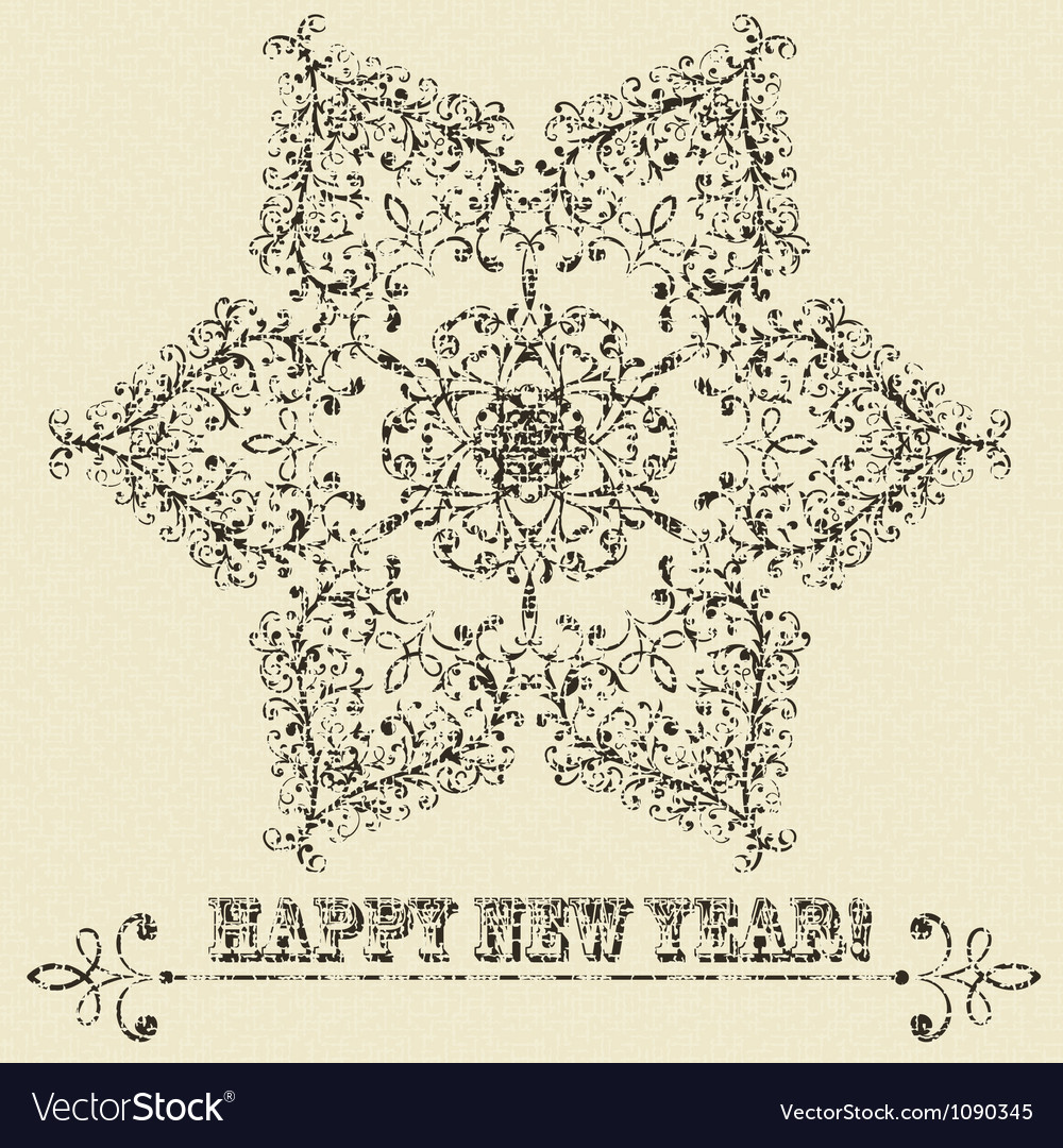 Vintage highly detailed star hexagon snowflake vector image