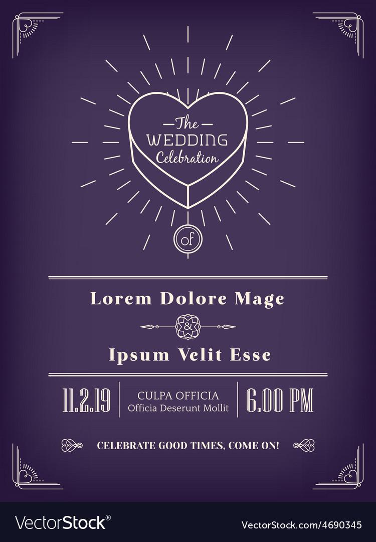 Vintage wedding invitation design vector image