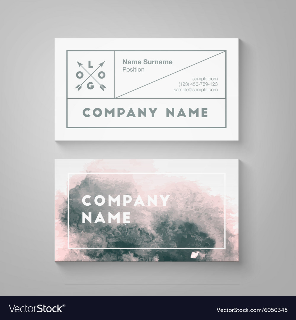 Watercolor Business Card Template Royalty Free Vector Image