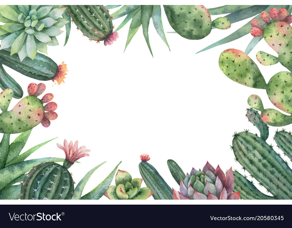 Watercolor card of cacti and succulent