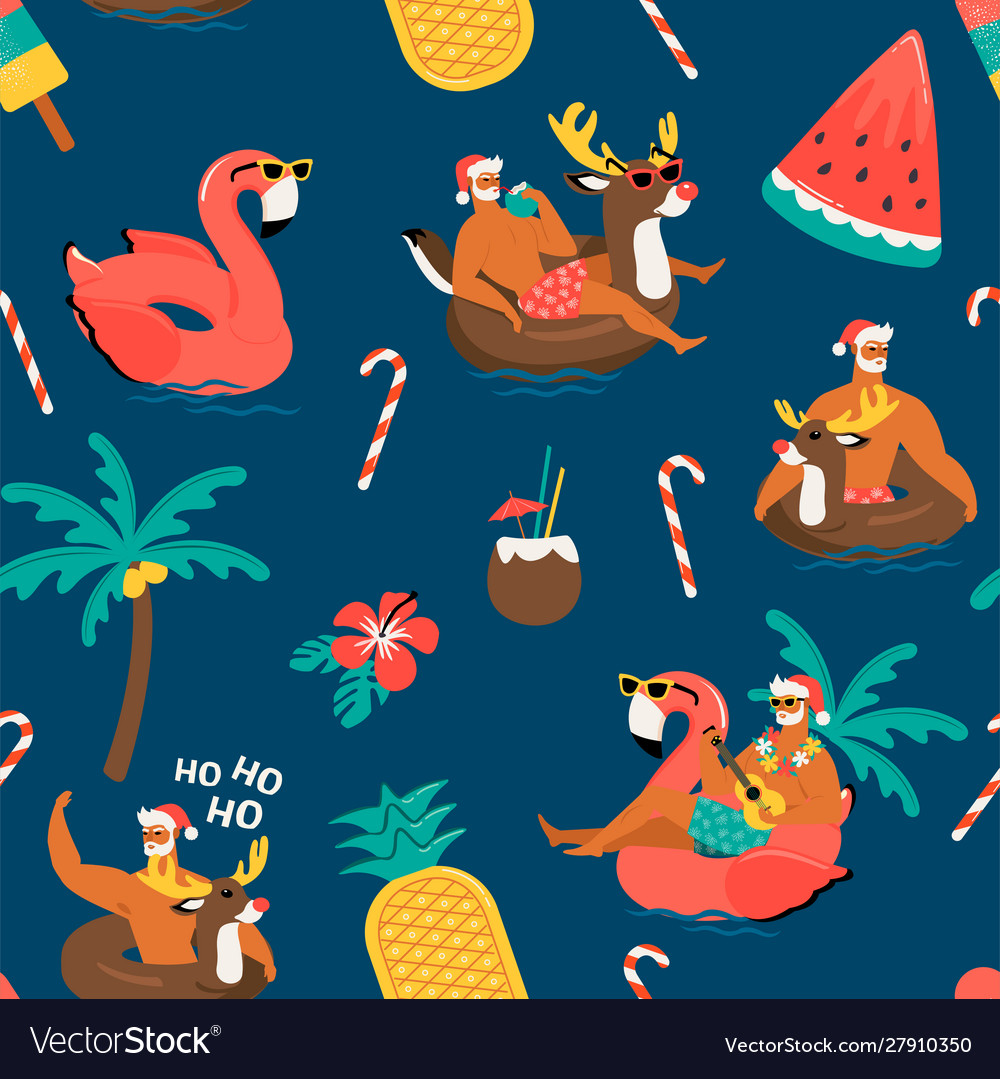 Christmas seamless pattern with cute funny santa