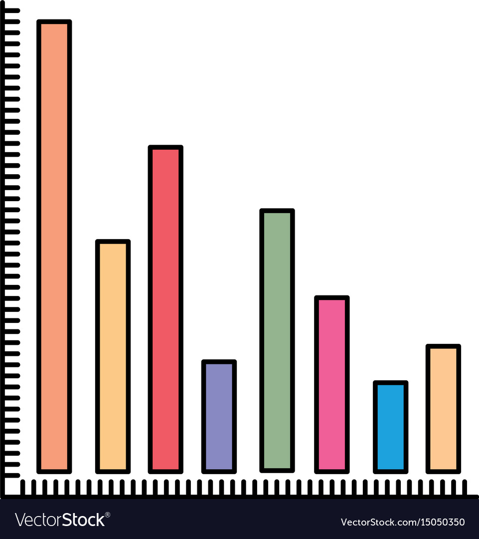 Colorful silhouette of column chart