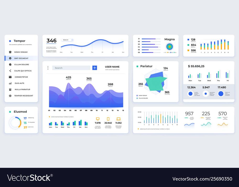 Dashboard ui modern presentation with data graphs