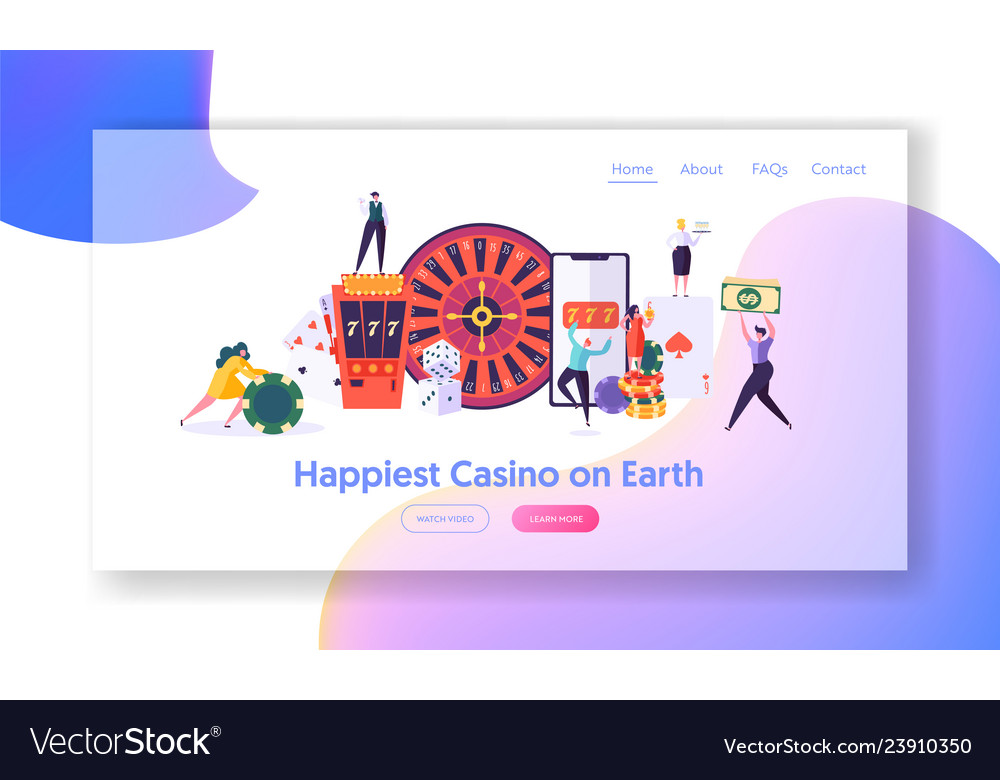 Happy young people play roulette landing page