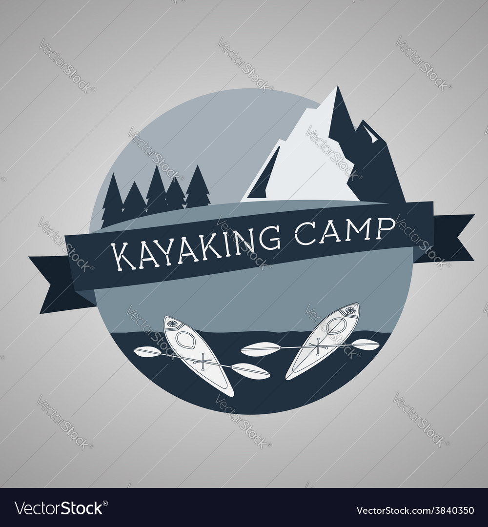 Kayaking camp logo Expedition label and sticker vector image