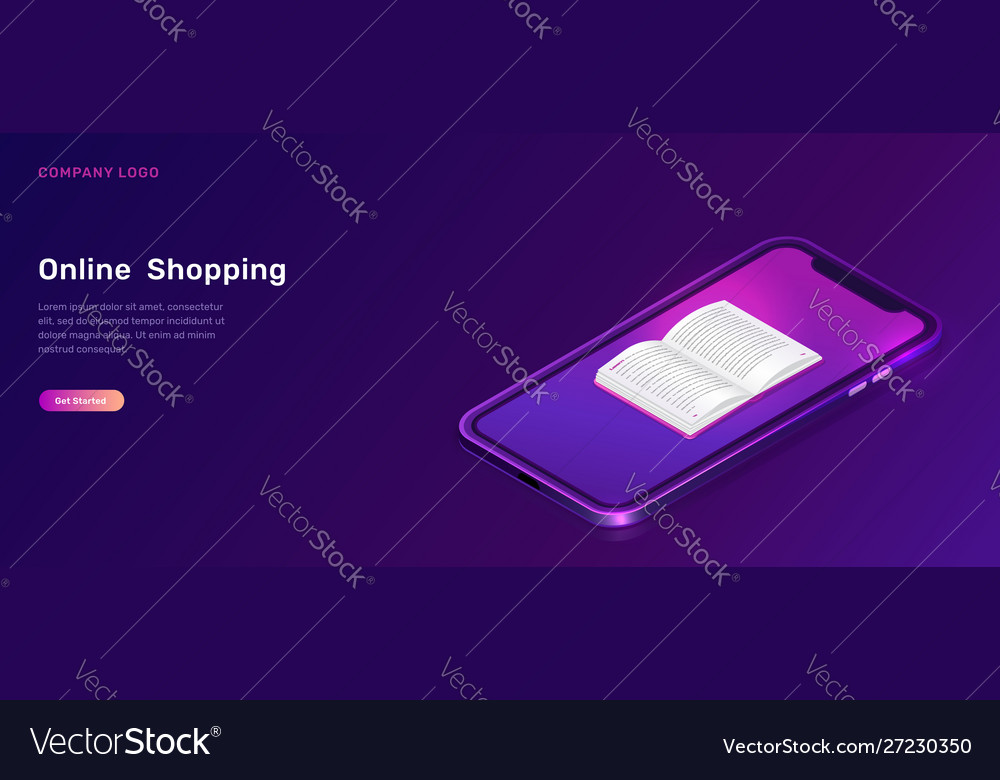 Online library or education isometric concept