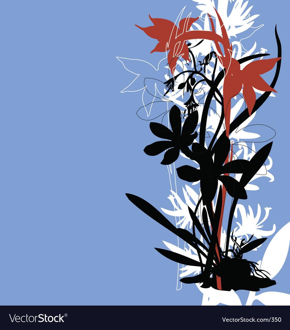 Oriental tropical floral border vector image