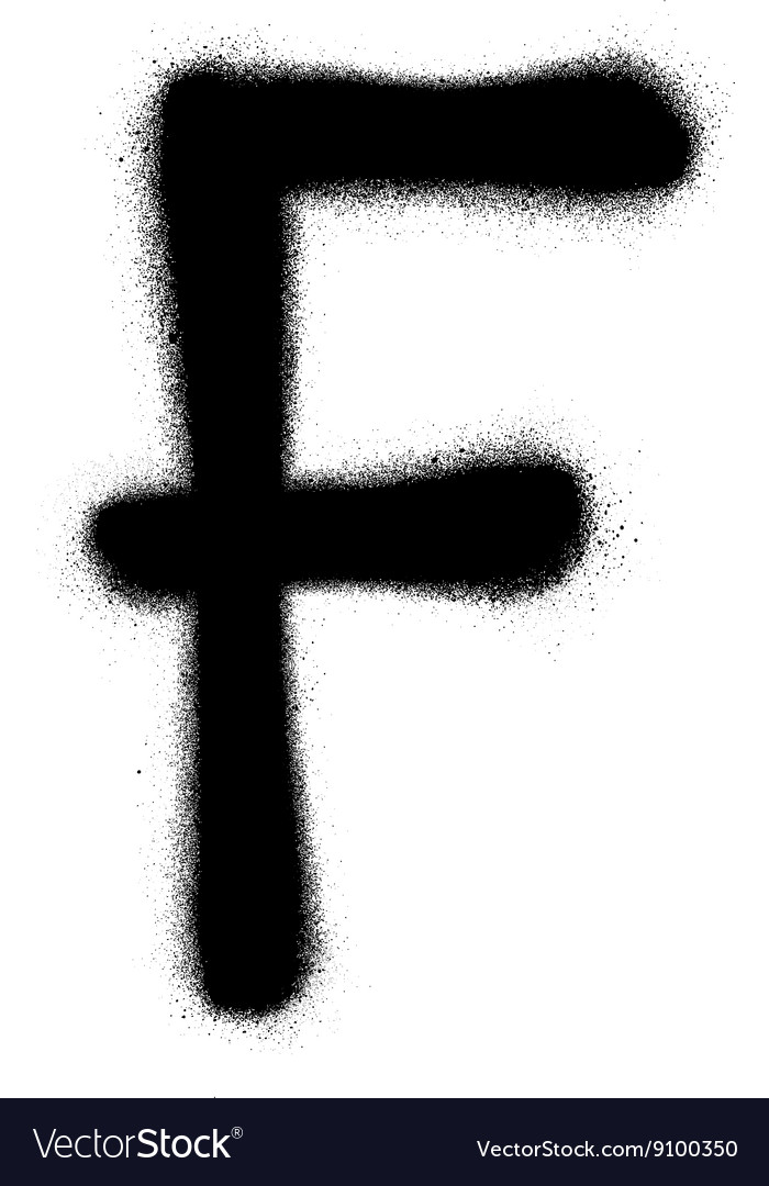 Sprayed F font graffiti in black over white vector image