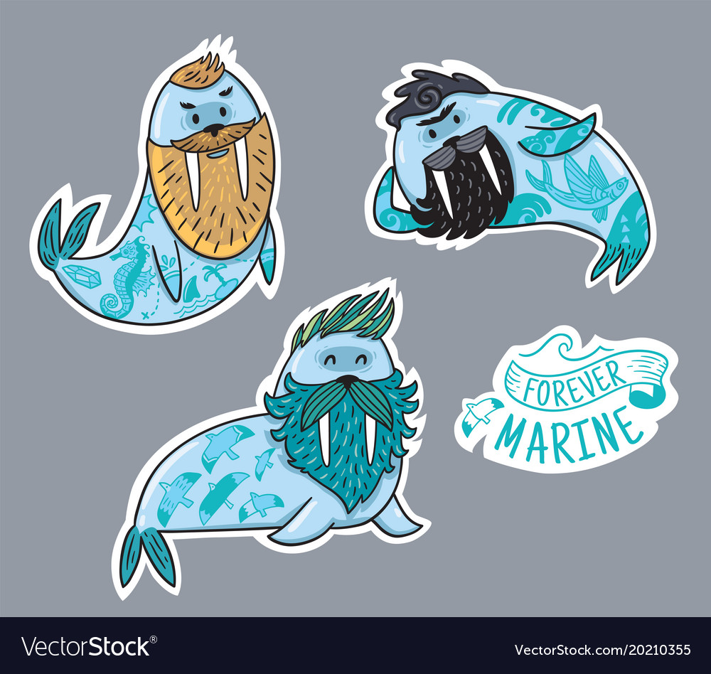 Animals patch collection of hipster walruses with