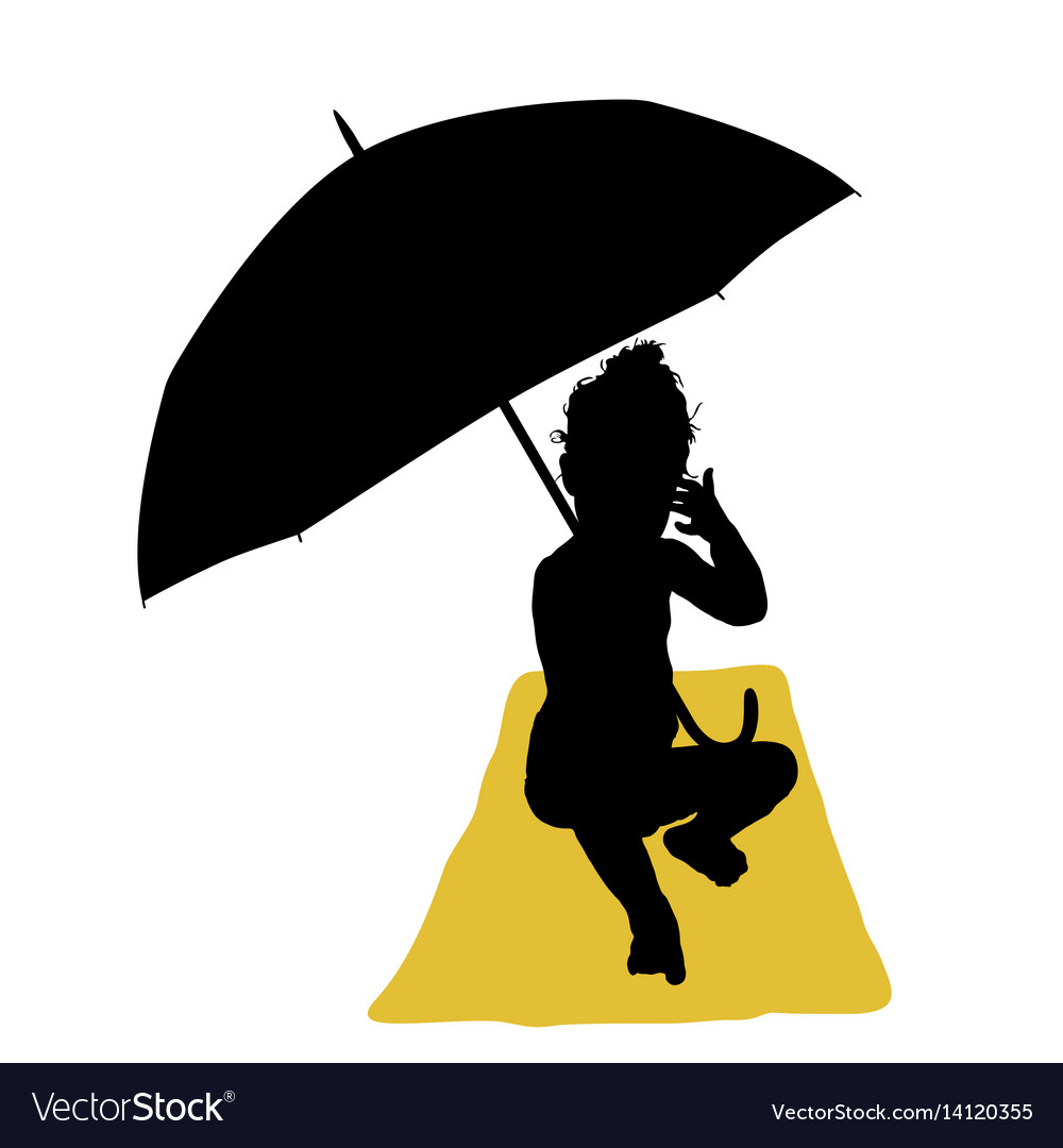 Child with umbrella and towel silhouette