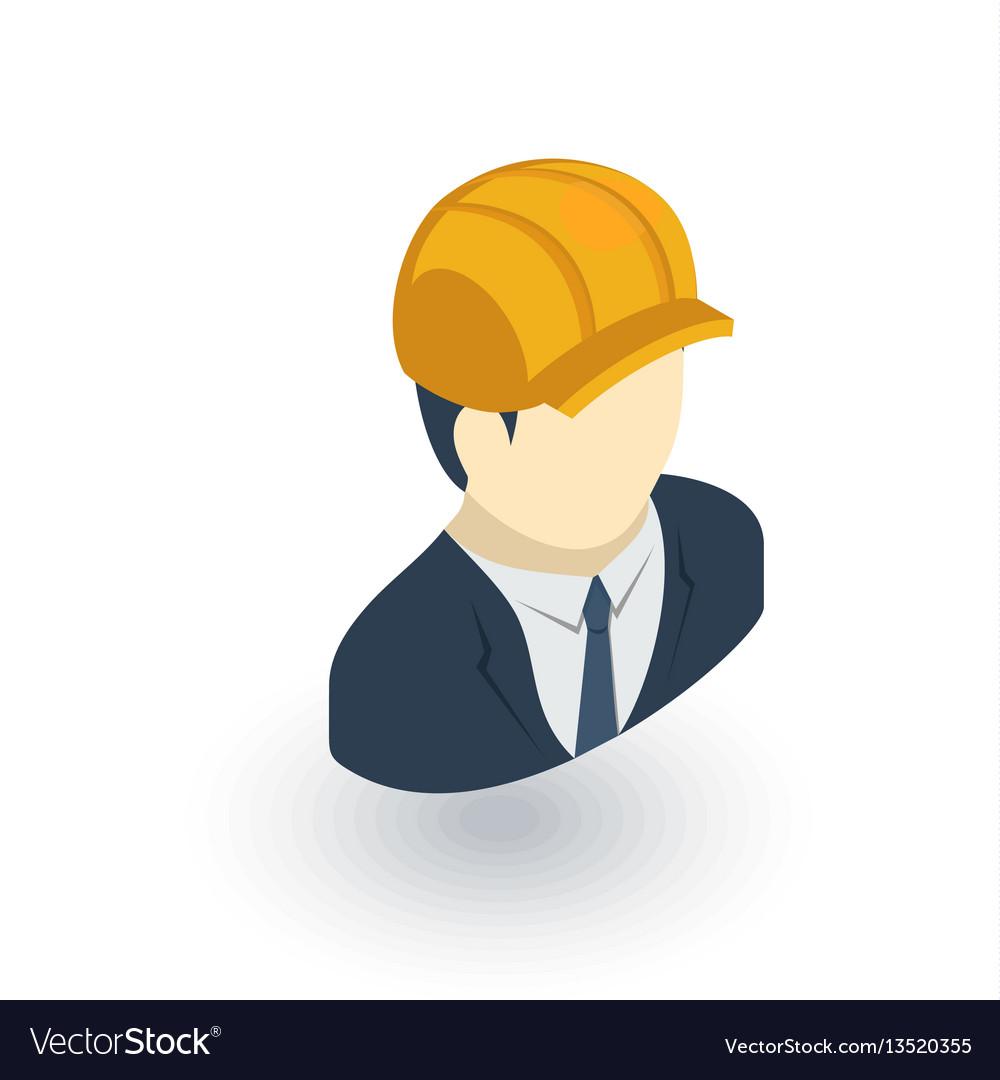 Engineer avatar architect in helmet isometric