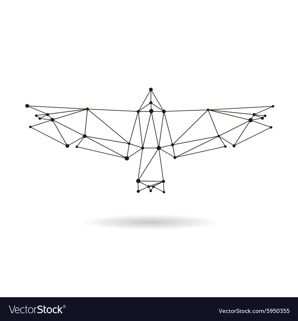 Geometric bird design silhouettet vector image