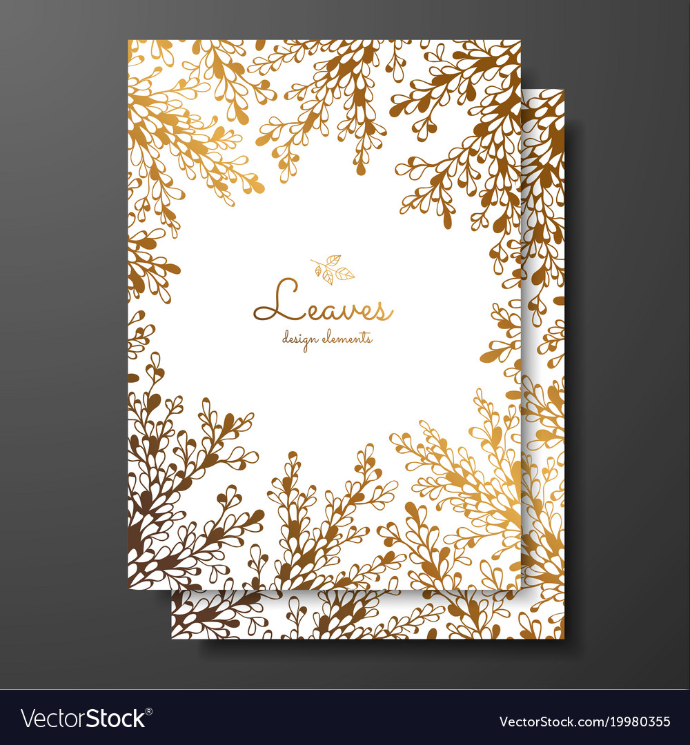 Gold floral card template with abstract plants