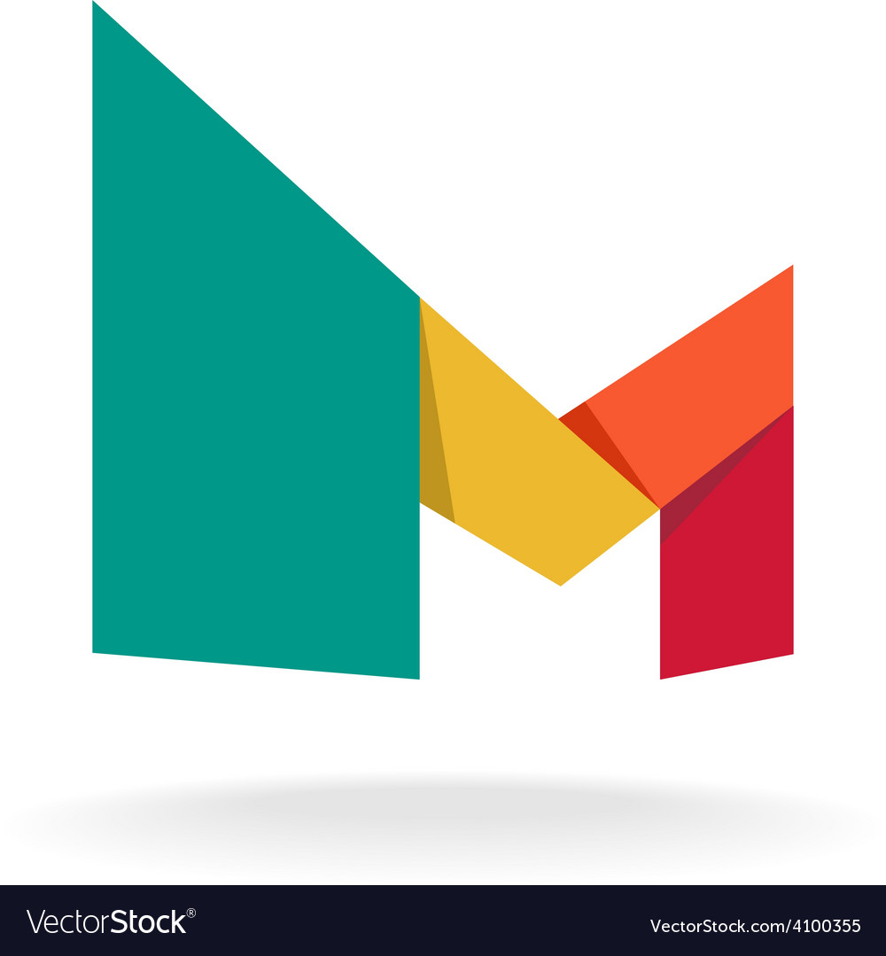 Letter M logo template Origami colorful style